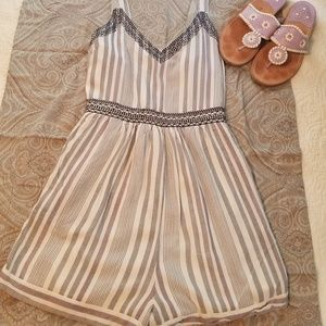 Pants - Lilac grey & white embroidered striped romper
